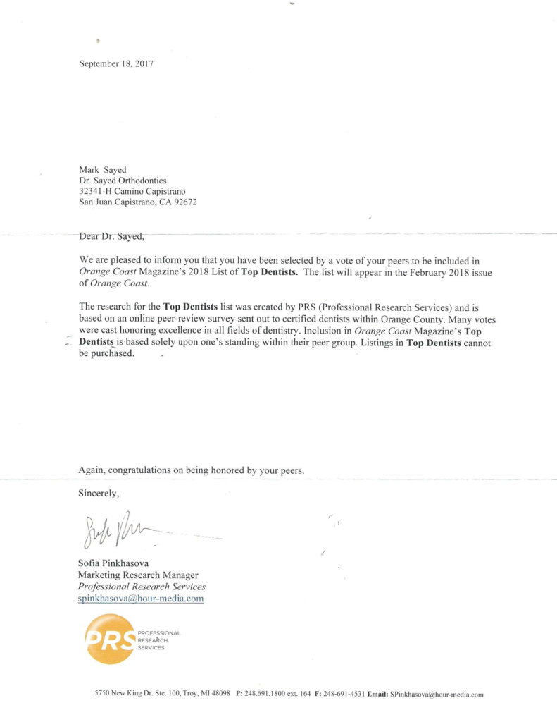 Letter top rated orthodontist award 2018